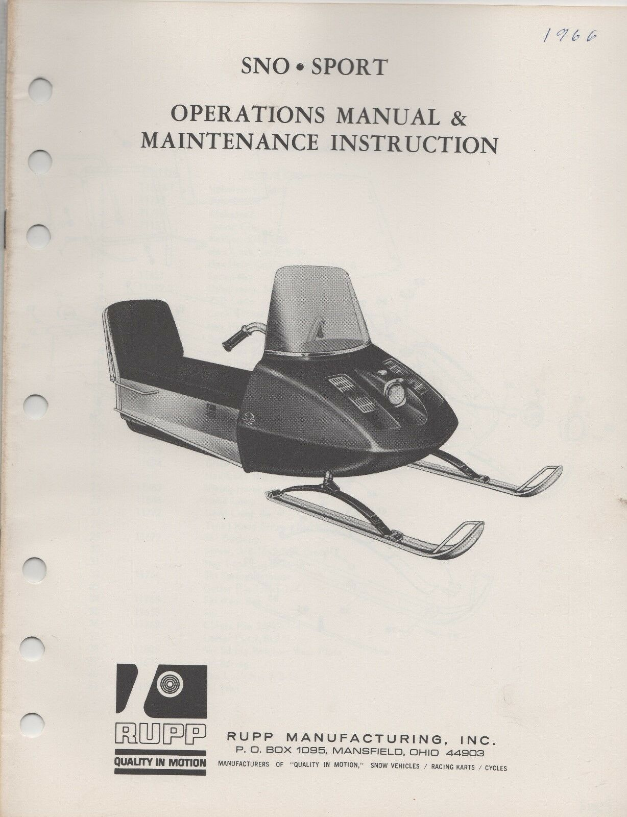 1966 RUPP  SNOWMOBILE SNO-SPORT OPERATIONS ,MAINTENANCE MANUAL (646)  amazing colorways