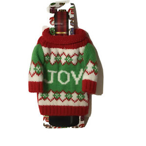 CHRISTMAS-UGLY-Sweater-WINE-Bottle-Cover-Pull-Over-Knit-Sweater-Joy-NEW