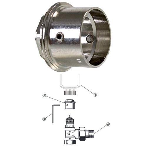 Heizkörper Thermostat Adapter Ventil Lupus Heimeier Danfoss RA 23mm auf M30x1,5