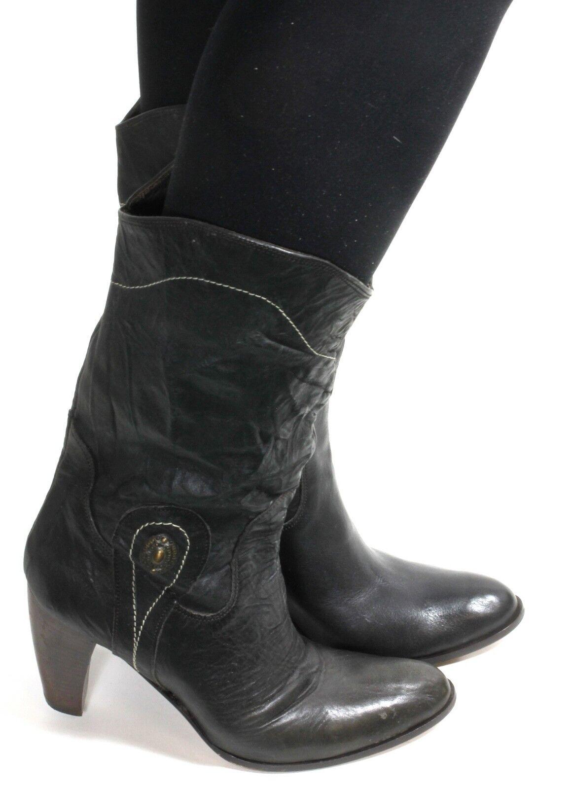Damenstiefel Vintage Stiefel Blogger High Heels Westernstiefel Cowboy Emblem 38
