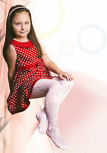 Girls-White-Tights-20-Denier-Floral-Lace-Pattern-Bridesmaid-Communion-034-Jagoda-034