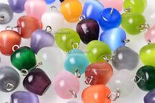 FREE Wholesale 10pcs Apple Natural Cat Eye Gemstone Silver Plated Bead Pendants
