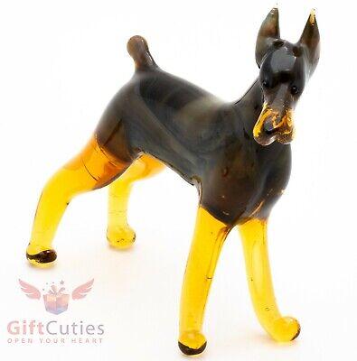 Art Glass Dog Doberman Doberman Collection Glass Dog Miniature Blown Glass Dog Glass Dog Figurine Glass Doberman Dog Figurine