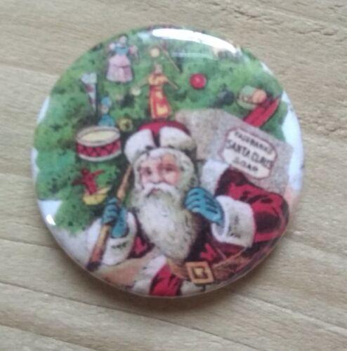 Xmas Pocket Mirror 58mm Button Badges Vintage Santa Father Christmas 25mm