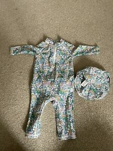 M&S Baby Swimsuit & Hat 6-9m