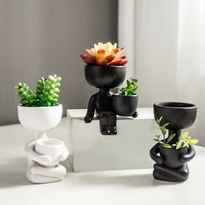 Humanoid Ceramic Flower Pots Vase Succulents Container Mini Pot Planter Charm