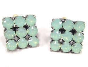SoHo-Ohrclips-quadrat-geschliffene-Kristalle-chrysolite-opal-gruen-tuerkis-meer