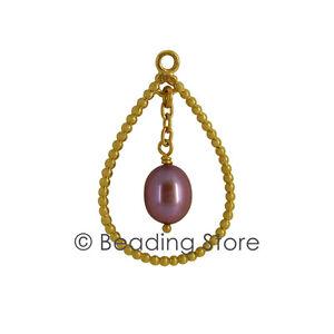 NEW-Pandora-Genuine-14k-Gold-Pink-Pearl-Compose-Ear-Pendant-Earrings-250408PW
