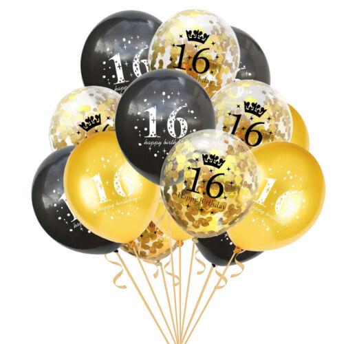 "12/""15 Black Gold 16//18//30//40//50//60th Happy Birthday Latex Balloons Party Decor"