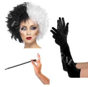 Cruella De Ville Book Week Hen Night Fancy Dress Costume Wig Accessories Lot