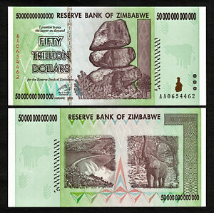 50 Trillion Zimbabwe Dollars Bank Note Almost Uncirculated AA 2008 Currency aUNC