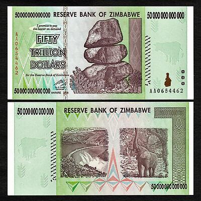 Zimbabwe 10 X 50 Trillion 2008 Prefix AA Pick-90 UNC AUTHENTIC /& UV PASSED
