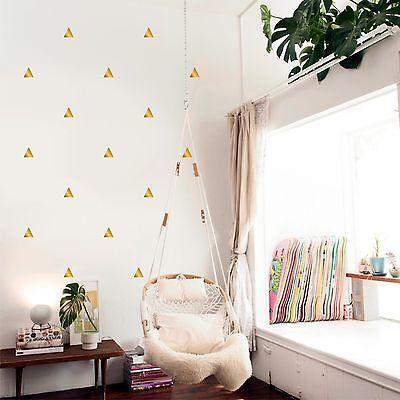 Metallic Gold Triangles Polka Dots Set of 40 pcs - Wall Decal Vinyl Sticker
