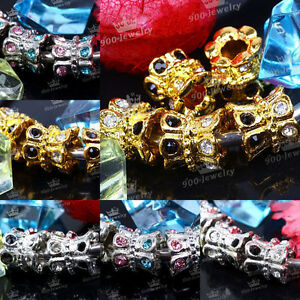 5x-Crown-Flower-Big-Hole-European-Spacer-Loose-Beads-Fit-Charms-Wristband-New