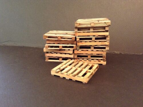 """One 1:12 Shipping Pallet 2.875 x 2.875/"""" Weathered Dollhouse Miniature 6/"""" Action"""