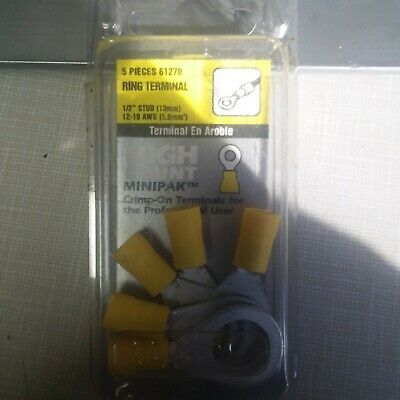 Yellow ⅜ inch Stud Size Calterm 69260 Ring Terminal 12-10 Gauge Wire Wire Terminal AWG 50 Pk.