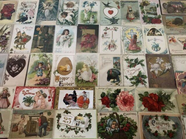 ~Nice~Lot of 50 Antique & Vintage Post Cards Christmas,Valentine,Easter Etc-s846