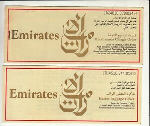 UAE-EMIRATES-AIRWAYS-LOT-OF-2-PASSENGER-TICKET-AND-BAGGAGE-CHECK