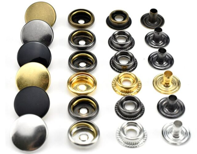 30 Sets Metal Snap Fasteners Press Buttons For Leather Wallet Jacket Crafts