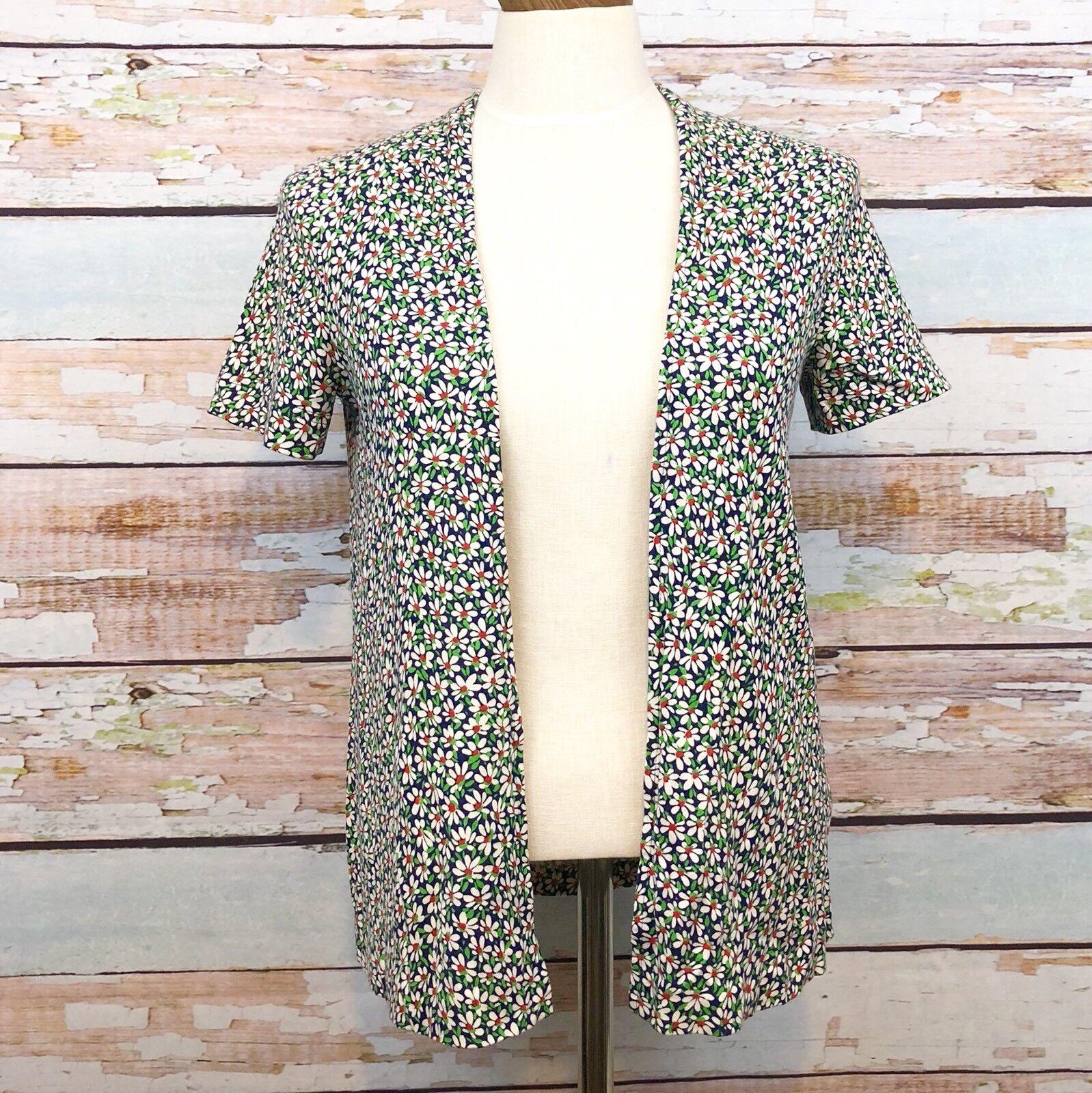 Diane Von Furstenberg Vintage Cotton Cardigan Cardigan Cardigan Coverup Floral Daisy Print Size 10 64fa21