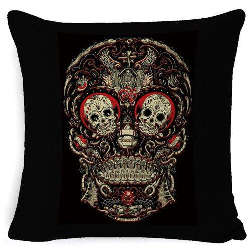 Tatouage Squelette Horreur Imprimé Coussin décoratif couverture Home Decor Pillow Case
