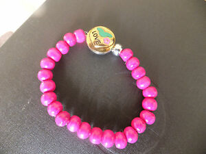 Noosa Style Adjustable Pink Wooden Stretch Bracelet With 'love' Pop Cap Jewelry & Watches Wristbands