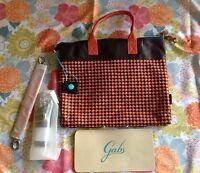 Gabs Convertible G3 Large Brown Orange Leather Tote Shoulder Bag Italy
