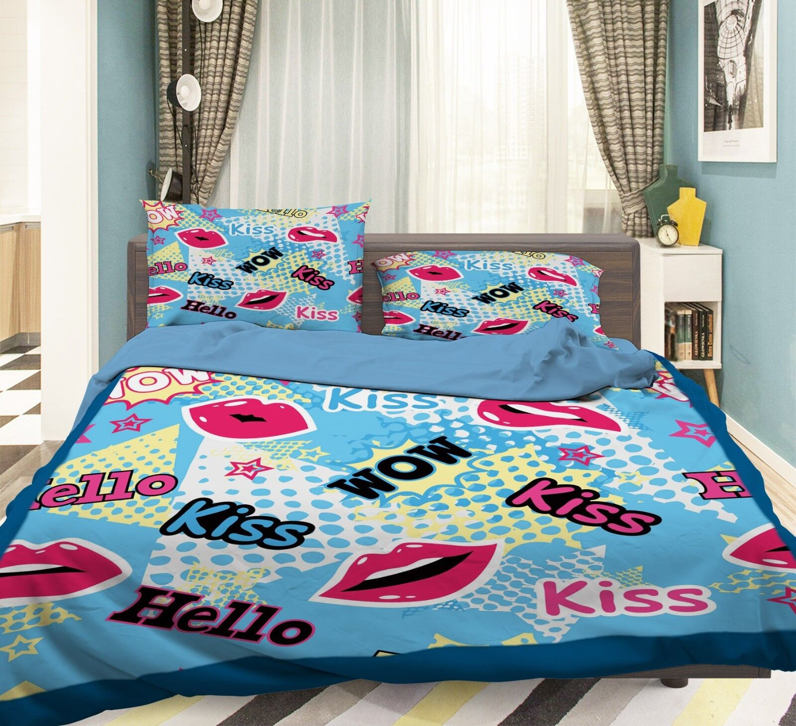 3D rosso Lips 370 Bed Pillowcases Quilt Duvet Cover Set Single Queen King Dimensione AU
