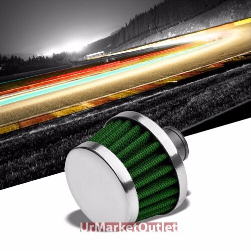 Green Universal 9MM Oil Crankcase Valve Vent Round Tapered Air Filter//Breather