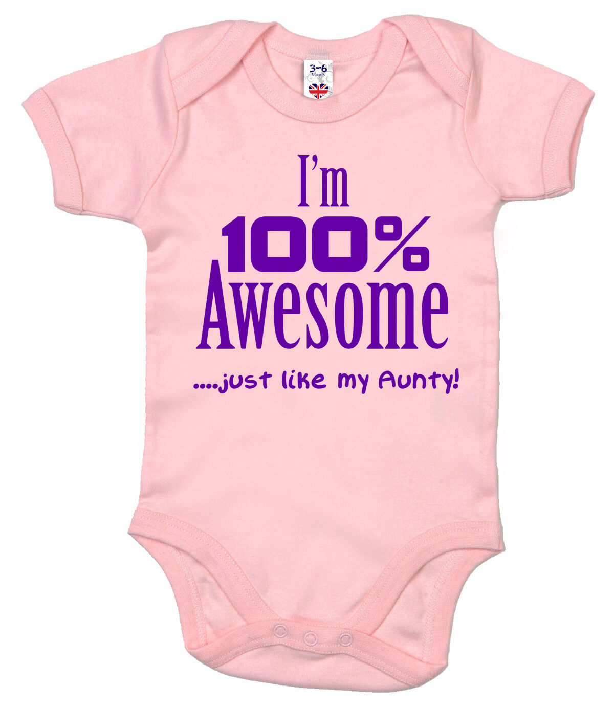 "Funny Auntie Bodysuit /""I/'m 100/% Awesome just like my Aunty/"" Baby grow Aunt Gift"