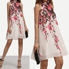Womens Summer Floral Dresses Halter Casual Round Neck Cut Out Sleeveless Dress S