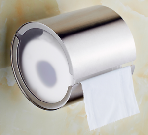 Wall-Mounted-Toilet-Paper-Roll-Holder-Tissue-Box-W-Cover-Stainless-Steel-Brushed