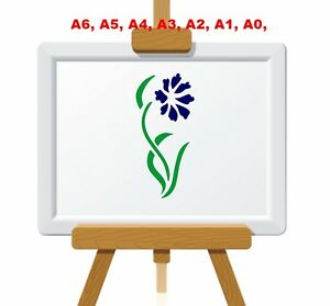 Single-CornFlower-and-Leaves-Stencil-350-micron-Mylar-not-thin-stuff-FL039