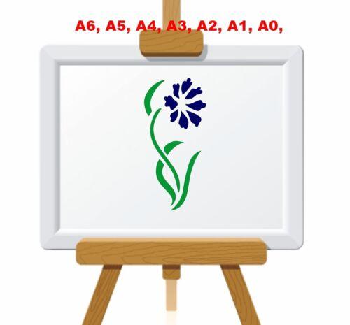Unique Bleuet et feuilles Stencil 350 µ Mylar pas Mince Stuff #FL039
