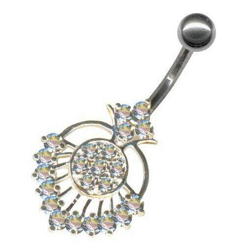 Piercing ombligo piercing cristales clara de plata 925 regalo nuevo