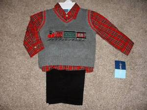 892faca25 Great Guy Baby Boys 3pc Train Holiday Vest Outfit Set Size 18 Mos ...