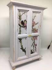 1:12th dolls house miniature shabby chic hand painted grey wardrobe bird decals