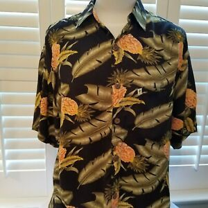 Pineapple-Moon-Hawaii-Camp-Shirt-Mens-Tropical-Cruise-Aloha-Size-M