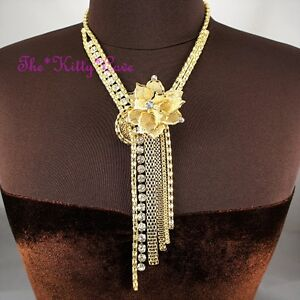 Stunning-Gold-Deco-Lacey-Floral-Flower-Tassels-Mesh-Statement-Crystal-Necklace
