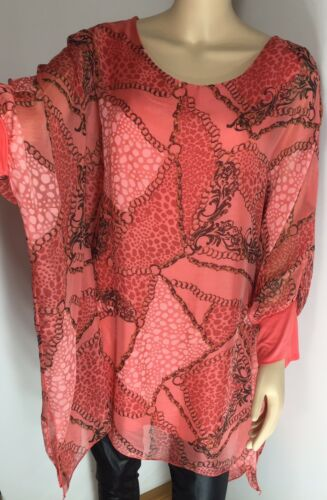 Coral Silk Tunic Chain Leopard Print Top Baroque Floaty Fits Sizes 16-22 NEW
