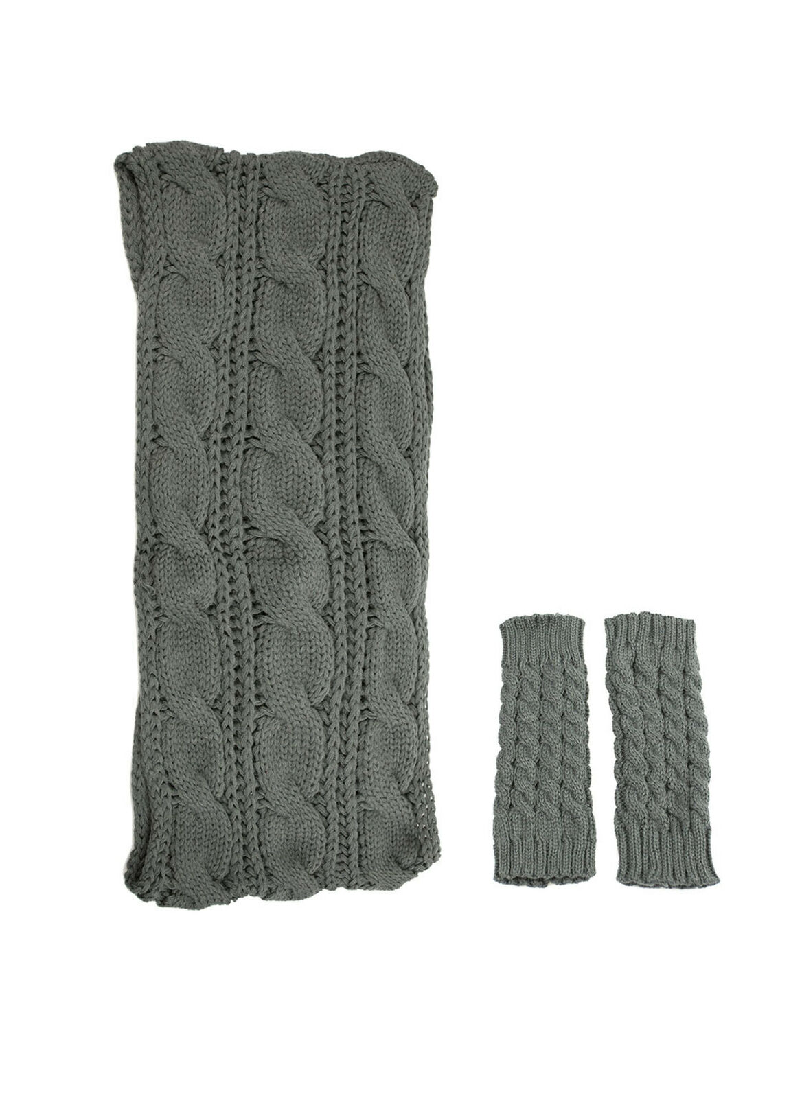 Exotic Identity Infinity Scarf and Leg Warmers Cable Knit 2-Piece Gift Set Fl...