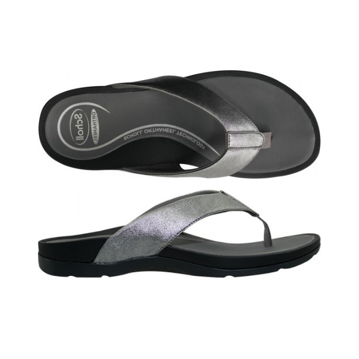 Womens Scholl Treasure Pewter Sandal Flip Flop