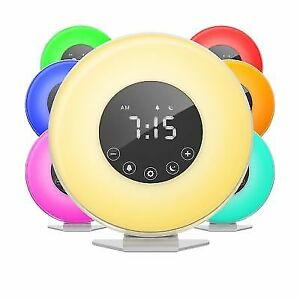 Home Digital Led Alarm Clock With 6 Color Switch Rechargeable