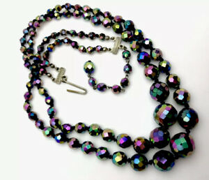 Vintage Colourful CARNIVAL PEACOCK Double String Glass Bead  Necklace GIFT BOXED