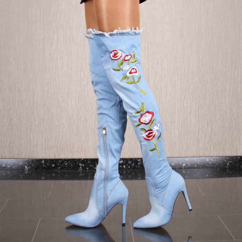 Sexy Damen Jeans Overknee Stiefel mit Blaumenstickerei Hellblau  HD8808
