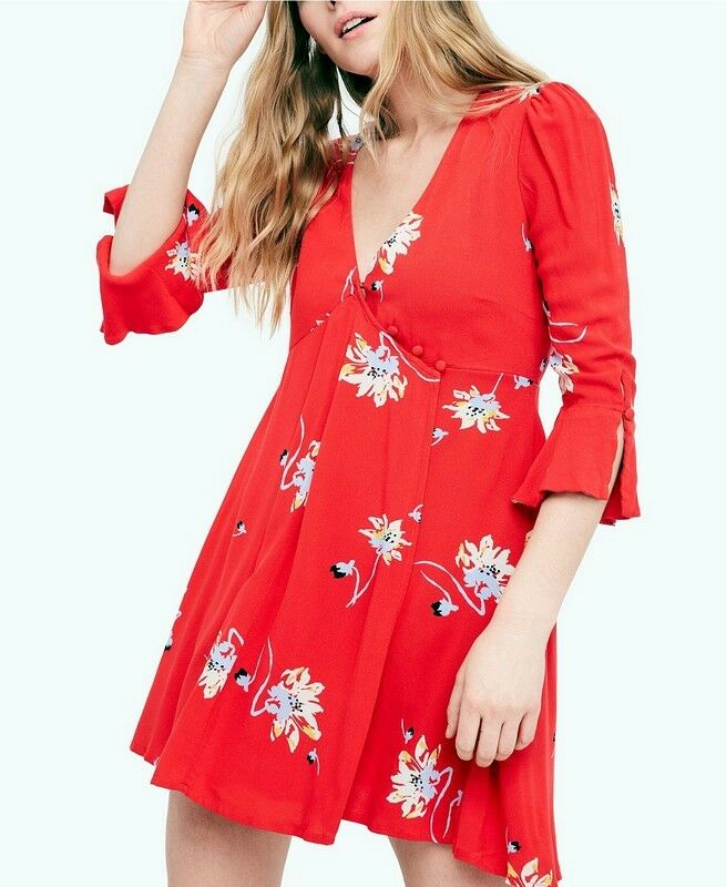 Free People NWT Größe Large Time On My Side rot Dress  NEW