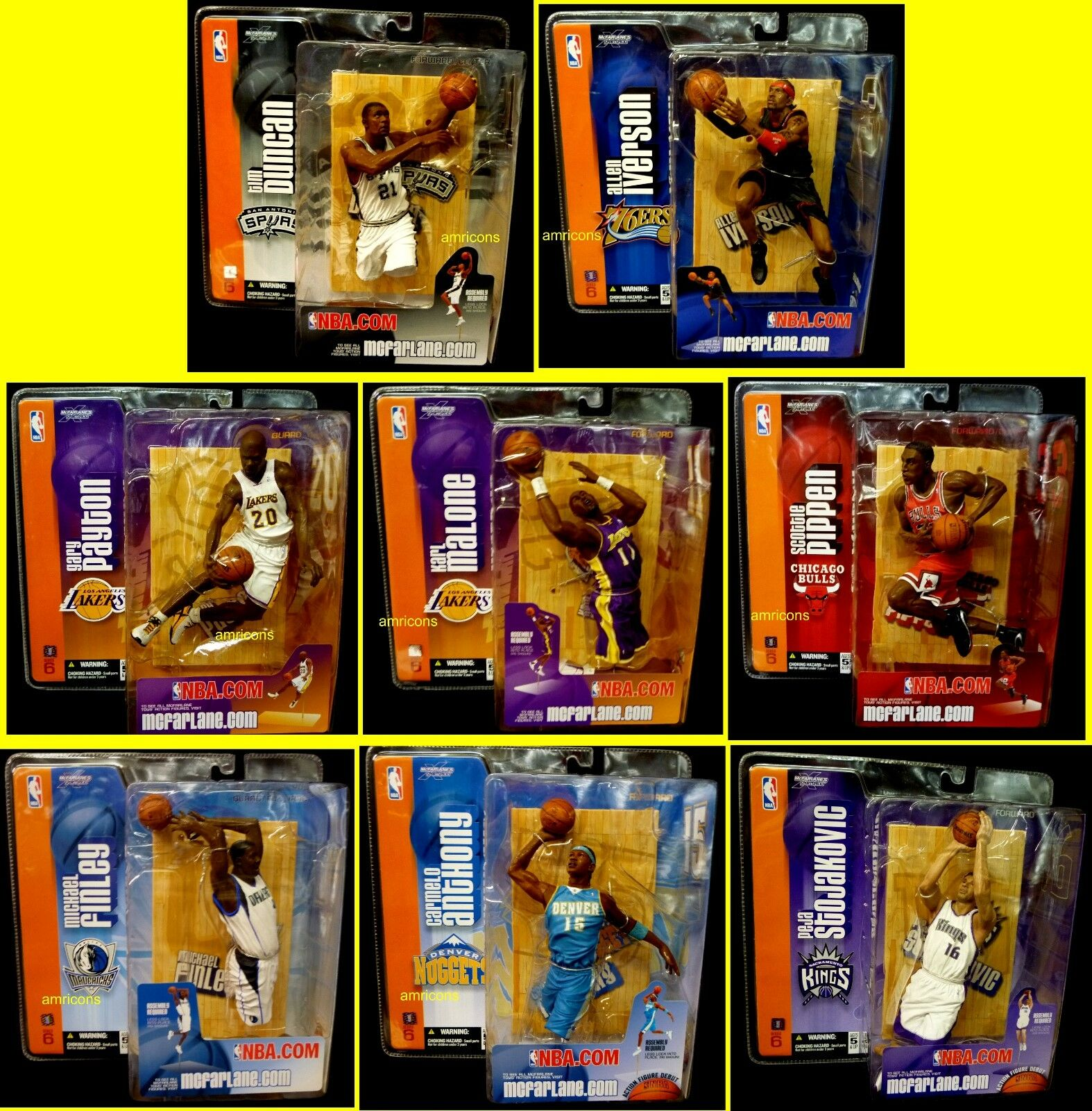 McFarlane Sports NBA Basketball Series 6 Set of 8 Action Figures Duncan 2004 .
