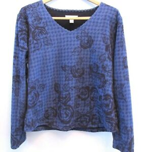 Coldwater-Creek-Womens-Top-Sweatshirt-Size-Medium-10-12-Blue-Floral-Print