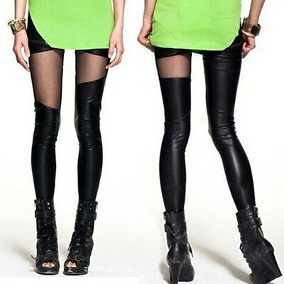 Women's Sexy Gothic Irregular Stretchy Faux Leather Leggings Pants Black Tights