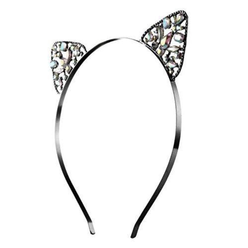 AM/_ Women Girls Metal Rhinestone Cat Ear Headband Hair band Costume Cosplay Fash